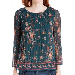 Max Studio Womens Floral Pleated Detail Top