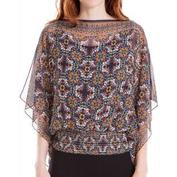 Max Studio Womens Printed Dolman Sleeve Top