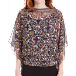 Max Studio Womens Printed Dolman Sleeve Top