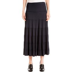 Max Studio Womens Solid Tiered Skirt