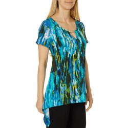 C'est La Vie Womens Printed Jeweled Keyhole Sharkbite Top