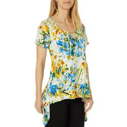 C'est La Vie Womens Floral Jeweled Keyhole Sharkbite Top