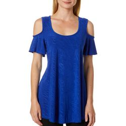 C'est La Vie Womens Embroidered Scroll Cold Shoulder Top