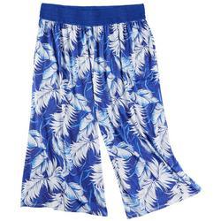 Plus Palm Leaves Wide Waistband Midi Pants