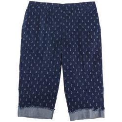 Alfred Dunner Plus Anchor Embroidered Capris