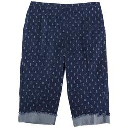 Plus Anchor Embroidered Capris