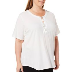 Cathy Daniels Plus Solid Lace Up Top