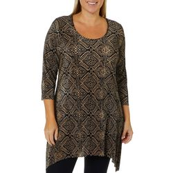 C&H Alliance Plus Geometric Print Ribbed Tunic Top