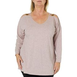 C&H Alliance Plus Heathered Cold Shoulder Top