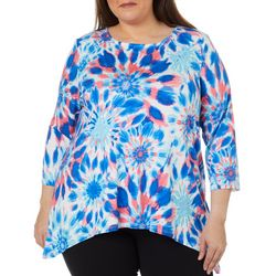 Ruby Road Favorites Plus Tie Dye Sharkbite Hem Top