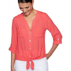 Ruby Road Favorites Plus Solid Button Down Tie Front Top