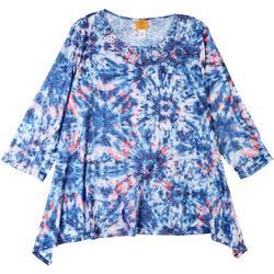 Favorites Plus Tie Dye Embellished Round Neck Top