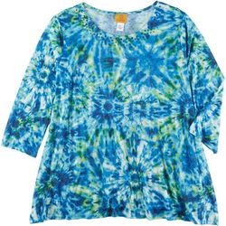 Ruby Road Favorites Plus Tie Dye Embellished Round Neck Top