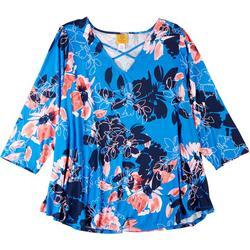 Plus Floral Print Crisscross Top