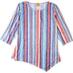 Ruby Road Favorites Plus Stripe Asymmetrical Embellished Top
