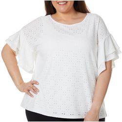 Ruby Road Favorites Plus Soild Eyelet Embroidered Top