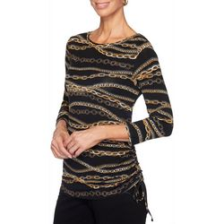 Ruby Road Favorites Plus Chain Print Ruched Top