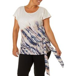 OneWorld Plus Tie Dye Side Tie Cap Sleeve Top