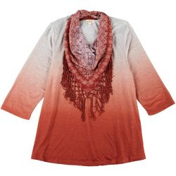 OneWorld Plus Scarf & Ombre Print Round Neck Top