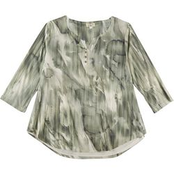 OneWorld Plus Abstract Marble Henley Top