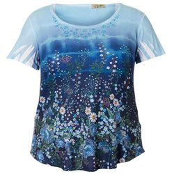 OneWorld Plus Boho Floral Print Scoop Neck Top