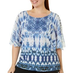 OneWorld Plus Jeweled Cheers Mixed Print Short Sleeve Top