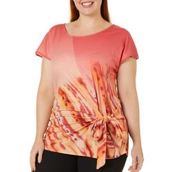 OneWorld Plus Dew Drop Print Side Tie Short Sleeve Top