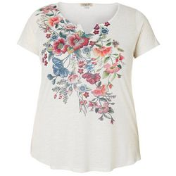 OneWorld Plus Blooming Floral Split Neck Short Sleeve Top