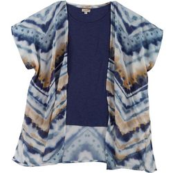 OneWorld Plus Watercolor Kimono Short Sleeve Duet Top