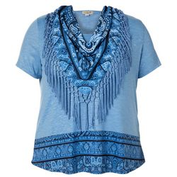 OneWorld Plus Scarf & Geo Print Round Neck Top