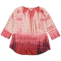 Womens Plus Henley 3/4 Sleeve Top