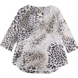 OneWorld Plus Animal Print Scoop Neck Top