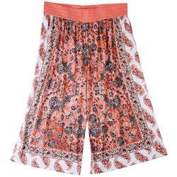 One World Womens Scarf Midi Print Pants