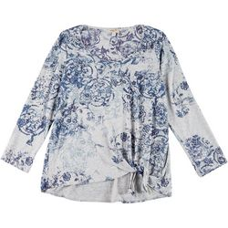 OneWorld Plus Jeweled & Floral Print Side Tie Top