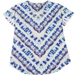 OneWorld Plus Embellished Chevron Short Sleeve Top