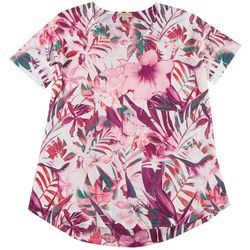OneWorld Plus Embellished Floral Short Sleeve Top