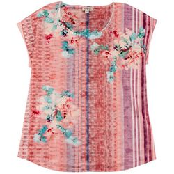 OneWorld Plus Jeweled Tie Dye Short Sleeve Top