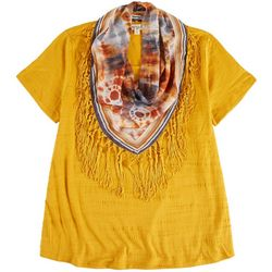 OneWorld Plus Tie-dye Scarf & Solid Top