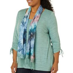 OneWorld Plus Solid Heathered Top And Scarf Set