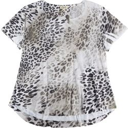 OneWorld Plus Rhinestone Leopard Short Sleeve Top