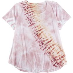 OneWorld Plus Rhinestone Embellished Tie Dye Top