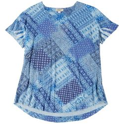 OneWorld Plus Boho Patchwork Scoop Neck Top