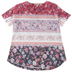 OneWorld Plus Boho Floral Stripe Scoop Neck Top