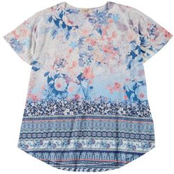 OneWorld Plus Boho Floral & Stripe Scoop Neck Top
