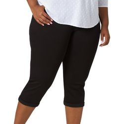 Plus Flex-To-Go Solid Relaxed Fit Denim Capris