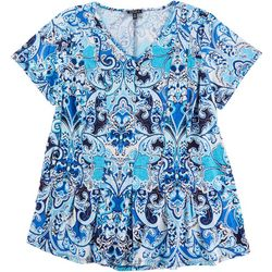 Sami & Jo Plus Fit & Flare Paisley V-Neck Top