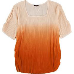 Plus Ombre Square Neck Short Sleeve Top