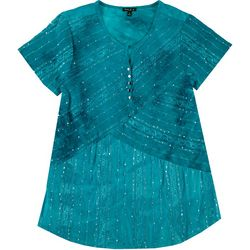 Sami & Jo Womens Plus Embellished Tie Dye Top