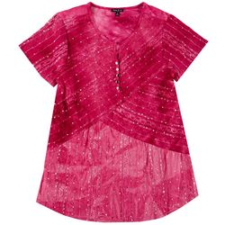 Sami & Jo Womens Plus Embellished Tie Dye Top