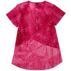 Womens Plus Embellished Tie Dye Top